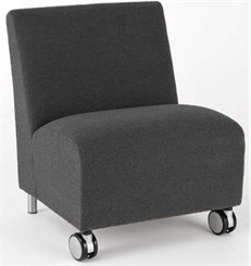 Ravenna Armless Guest Chair w/ Casters in Standard Fabric or Vinyl
