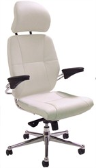 Romana Office Chair in White Leather