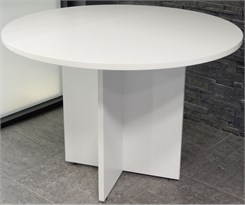 "White 42"" Round Conference Table"