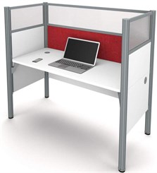 White Single Cubicle Workstation w/ Windows