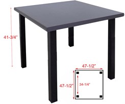 Standing Height 4' Square Conference/Meeting Table in Weathered Gray