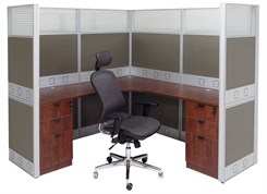 "72"" x 72"" x 67""H Premium Series L-Shaped Cubicle w/Files - Starter Unit"