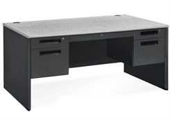 "In Stock Steel Panel End Desks - 60""W Double Pedestal Desk"
