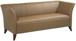 Office Star SL15 Series Taupe Faux Leather Sofa