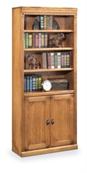 Traditional Oak Two-Door Bookcase