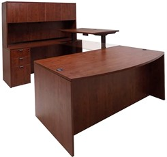 Cherry Electric Lift Adjustable Bridge U-Desk w/Hutch