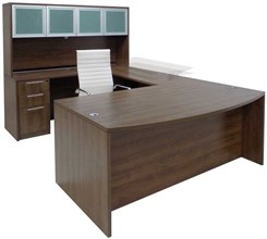 Electric Lift Adjustable Bridge Modern Walnut U-Desk w/Hutch