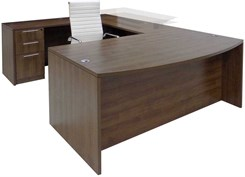 Electric Lift Adjustable Bridge Modern Walnut U-Desk