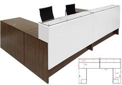 "Emerge Glass Top U-Shaped 2-Person Reception Desk w/Drawers & LED Lights - 132""W"