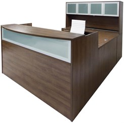 Modern Walnut U-Shaped Reception Desk