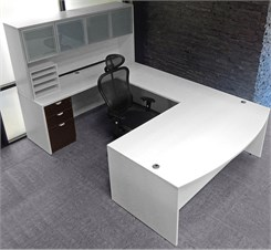White & Woodgrain U-Shaped Workstation w/Hutch
