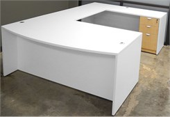 White & Woodgrain U-Shaped Workstation