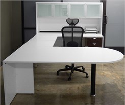 White & Woodgrain Peninsula U-Shaped Workstation w/Hutch