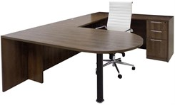 Modern Walnut Peninsula U-Shaped Workstation