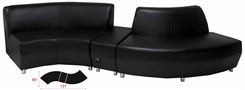 Black Leather Wave Sofa w/Powered USB Ottoman
