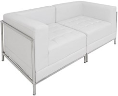 White Tufted Modular 2-Seat Loveseat