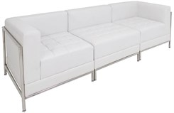 White Tufted Modular 3-Seat Sofa