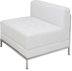 White Tufted Modular Armless Chair