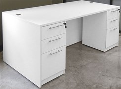 White Rectangular Executive Desk w/6 Drawers