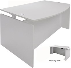 White Adjustable Height Bow Front Desk