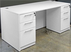 White Rectangular Managers Desk w/6 Drawers