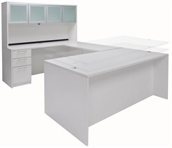 White Adjustable Height Rectangular Front U-Shaped Desk w/Hutch