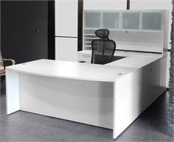 White U-Shaped Workstation w/Hutch