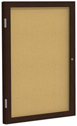 "Wood Frame Cork Bulletin Board - 24"" X 36"" 1 Door"