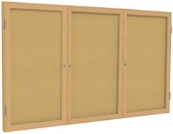 "Wood Frame Cork Bulletin Board  - 72""X36""  3 Door"