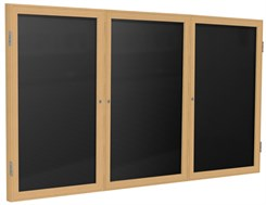 "Wood Frame Enclosed Letter Board - 72"" X 36"" 3 Door"