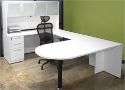 White Peninsula U-Shaped Workstation w/Hutch