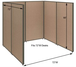 "66""H Wrap Around Open Cubicle for 72""W Desk"