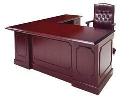 Traditional Dark Cherry Veneer L-Shape Desk w/Right Return
