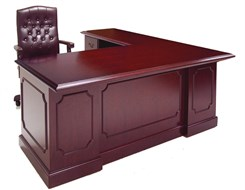 Traditional Dark Cherry Veneer L-Shape Desk w/Left Return