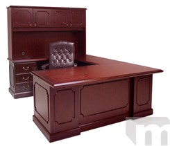 Franklin Traditional Dark Cherry Veneer U-Shape Desk w/Hutch