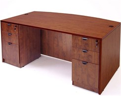 Cherry Laminate Bow Front Desk w/Six Drawers