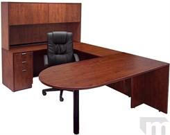 Cherry Peninsula U-Shaped Workstation w/Hutch