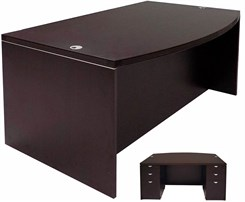 Bow Front Conference Desk w/6 Drawers