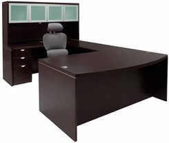 Mocha Conference U-Shaped Workstation w/Hutch